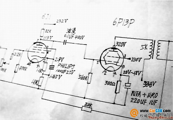 胆机制作6j1推动6p13p的电子管功放电路